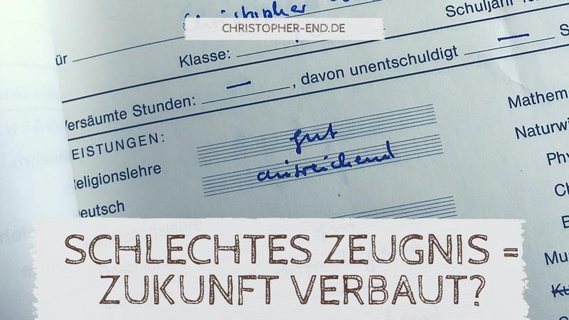 Bild eines Zeugnisses mit der Note ausreichend bei Deutsch. Text: Schlechtes Zeugnis = Zukunft verbaut?
